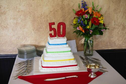50th anniversary cake primary colors